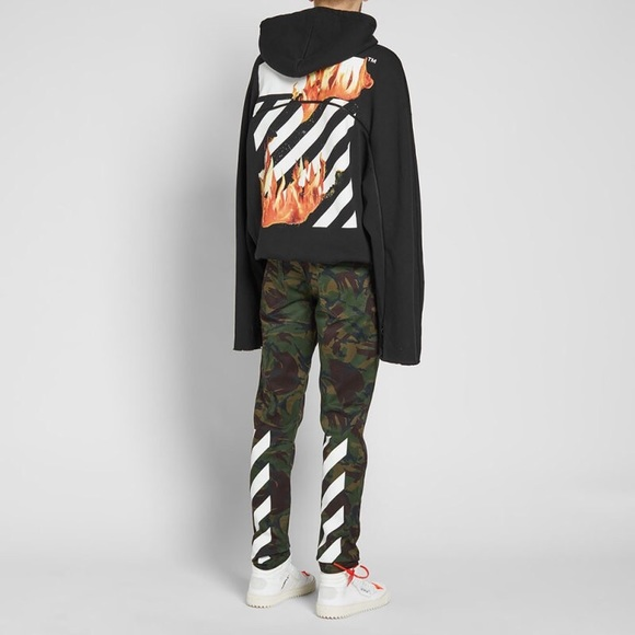 00a33a48 Off-White Shirts | Off White Virgil Abloh Diagonal Fire Zip Hoodie ...